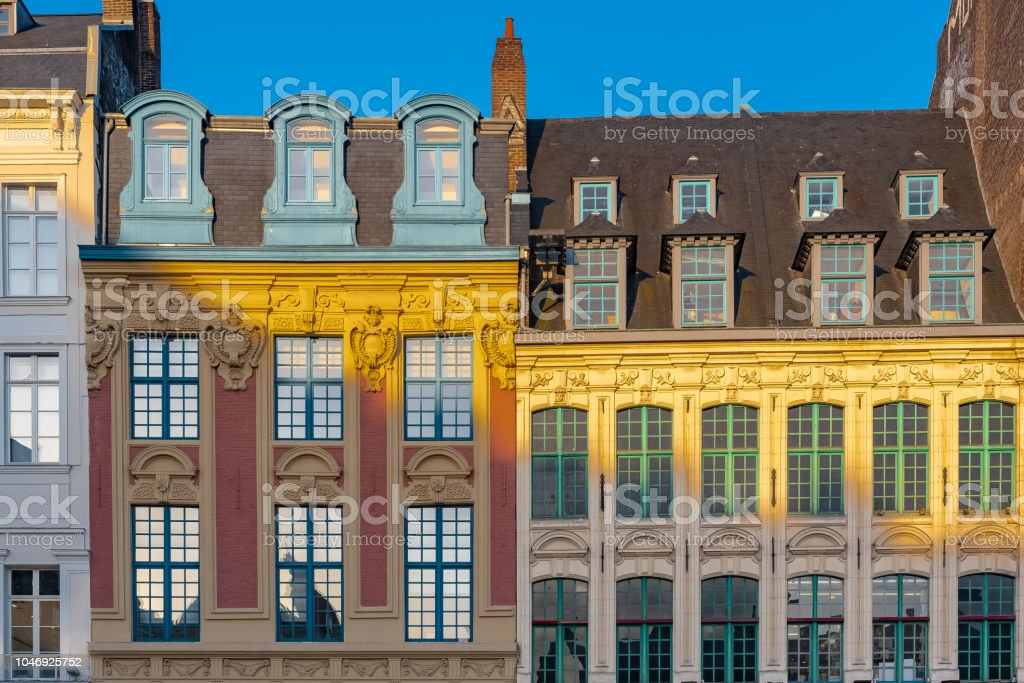 Lille, ancient houses stock photo