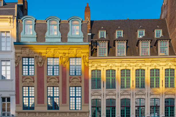Lille, ancient houses Lille, ancient houses in the center, beautiful light in the morning hauts de france stock pictures, royalty-free photos & images
