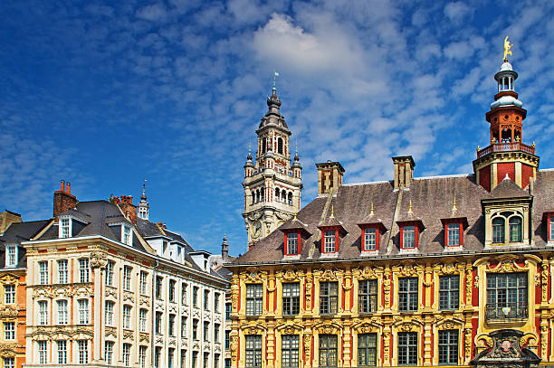 Lille Grand Place Lille Grand Place showing the Chamber of Commerce tower in the centre and  Vieille Borse on the right. hauts de france stock pictures, royalty-free photos & images