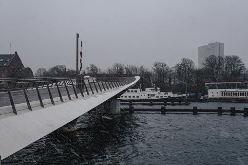 Lille Langebro bridge in the snow