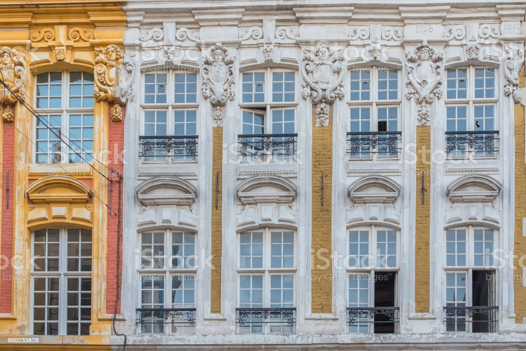 Lille, old facade in the center stock photo