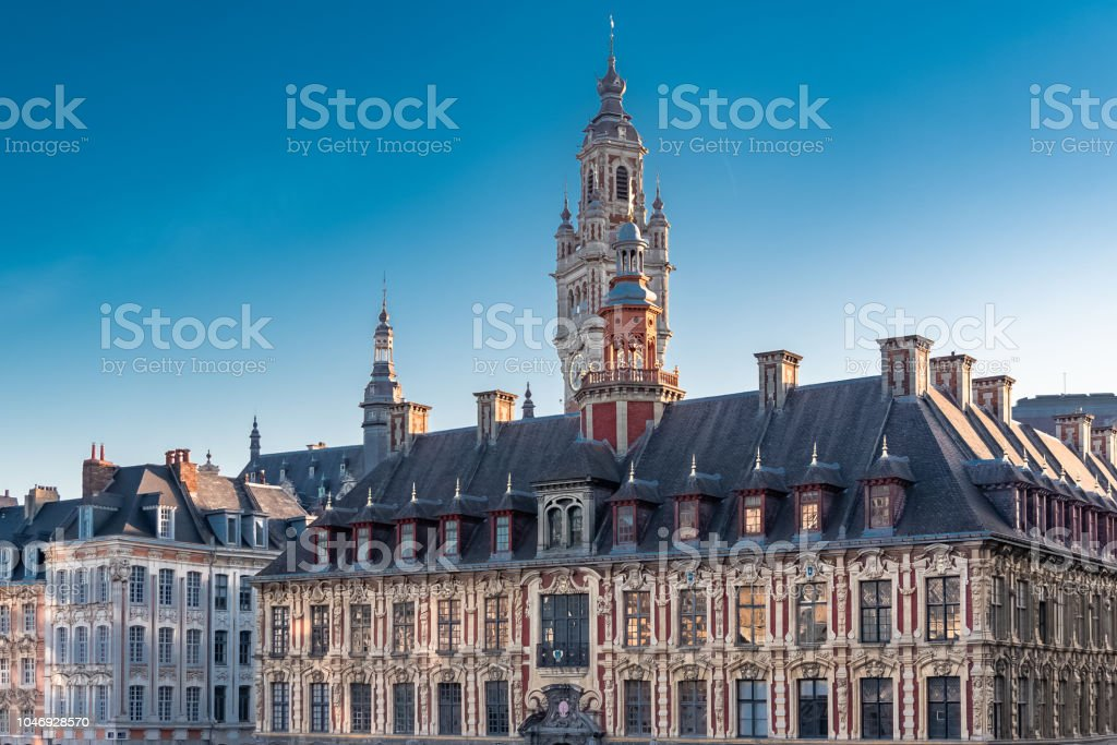 Lille, old facades stock photo