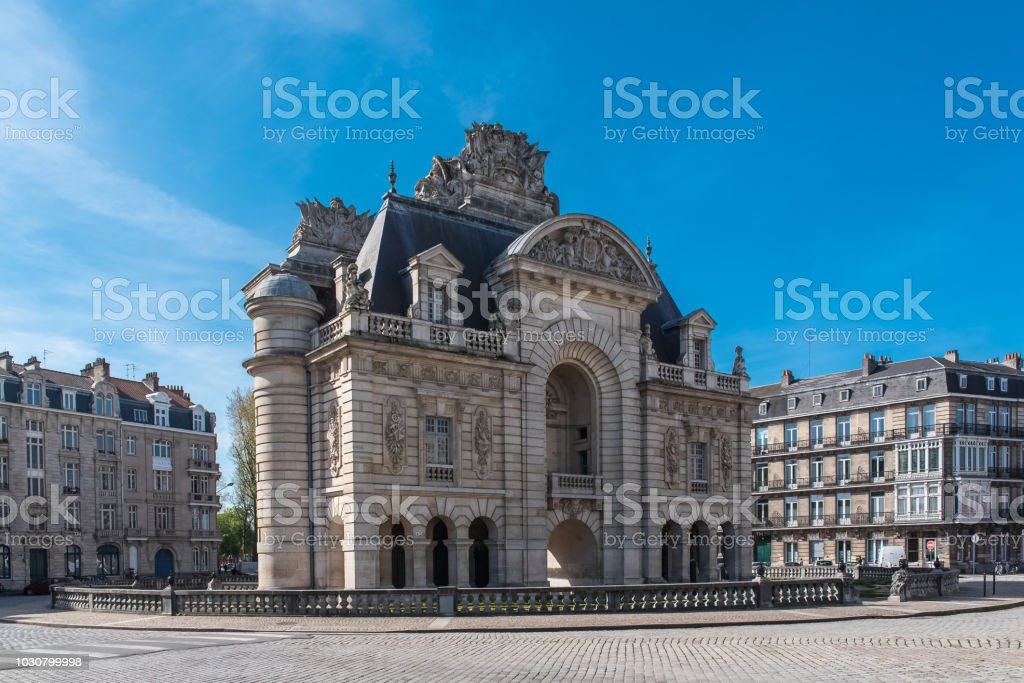 Lille, the Porte de Paris stock photo