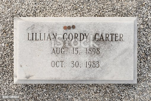 Plains, Georgia, USA - November 12, 2016: Lillian Carter's (mother of Jimmy Carter) grave at the Lebanon Cemetery in Plains