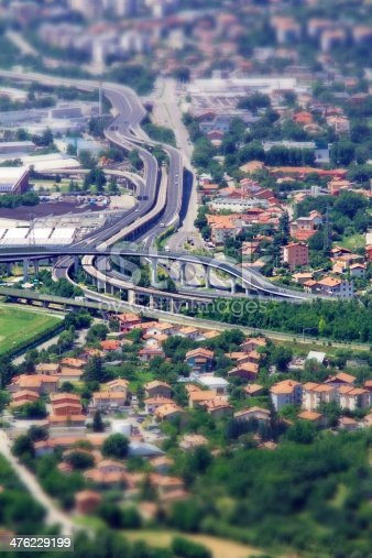 Cityscape with fake tilt and shift effect. In focus an highway