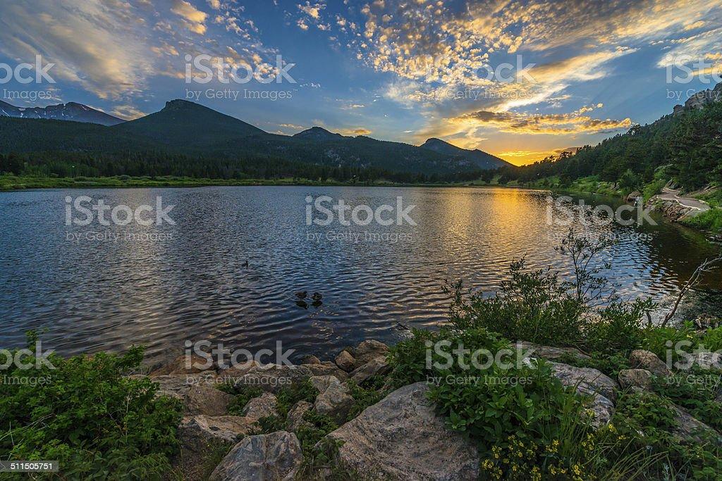 Lilly Lake at Sunset - Colorado stock photo