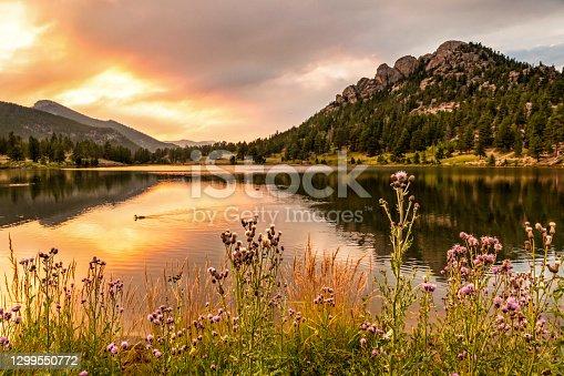 istock Lily Lake Fiery Sunset 1299550772