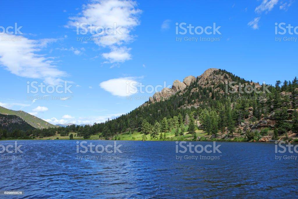 Lily Lake in the Rocky Mountains near Estes Park, Colorado stock photo