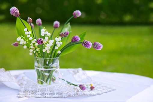 Lily of the valley bouquet in glas vase