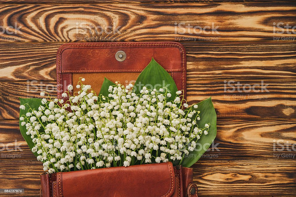 Lily Of The Valley Bouquet In Leather Bag Stock Photo ...