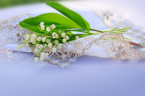 Lily of the valley bouquet on the table