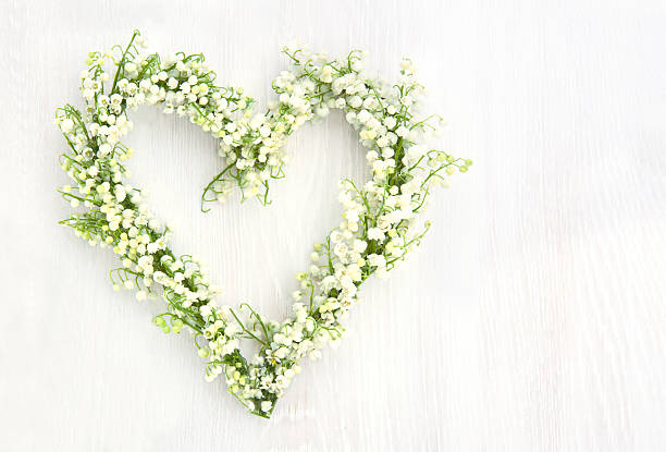 Lily of the valley flower wreath stock photo