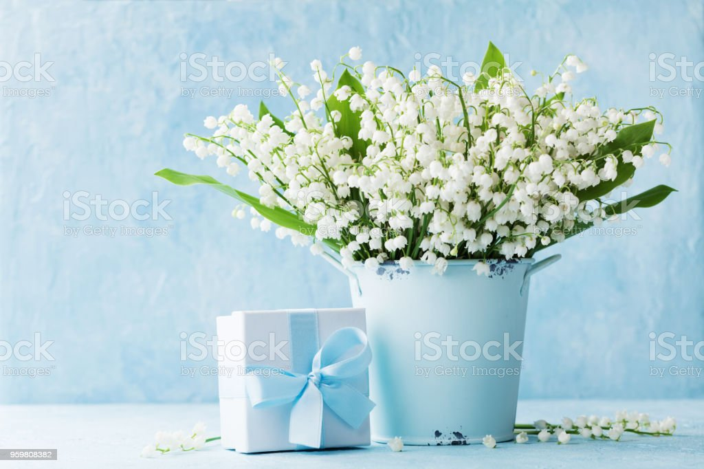 Lily Of The Valley Flowers In Blue Vase And Gift Box On Rustic Table