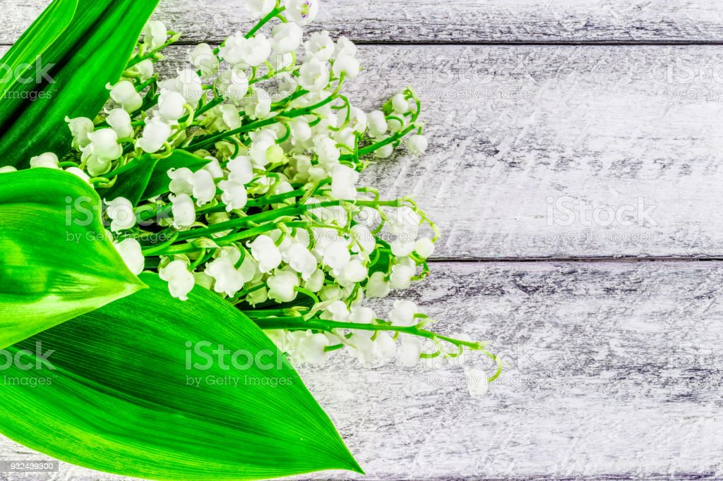 Lily Of The Valley Flowers On Wooden Background Happy Easter And