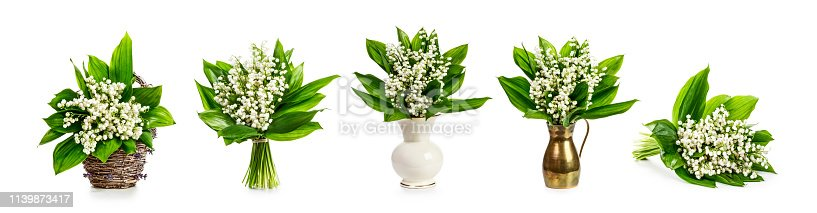 istock Lily of the valley flowers set banner 1139873417