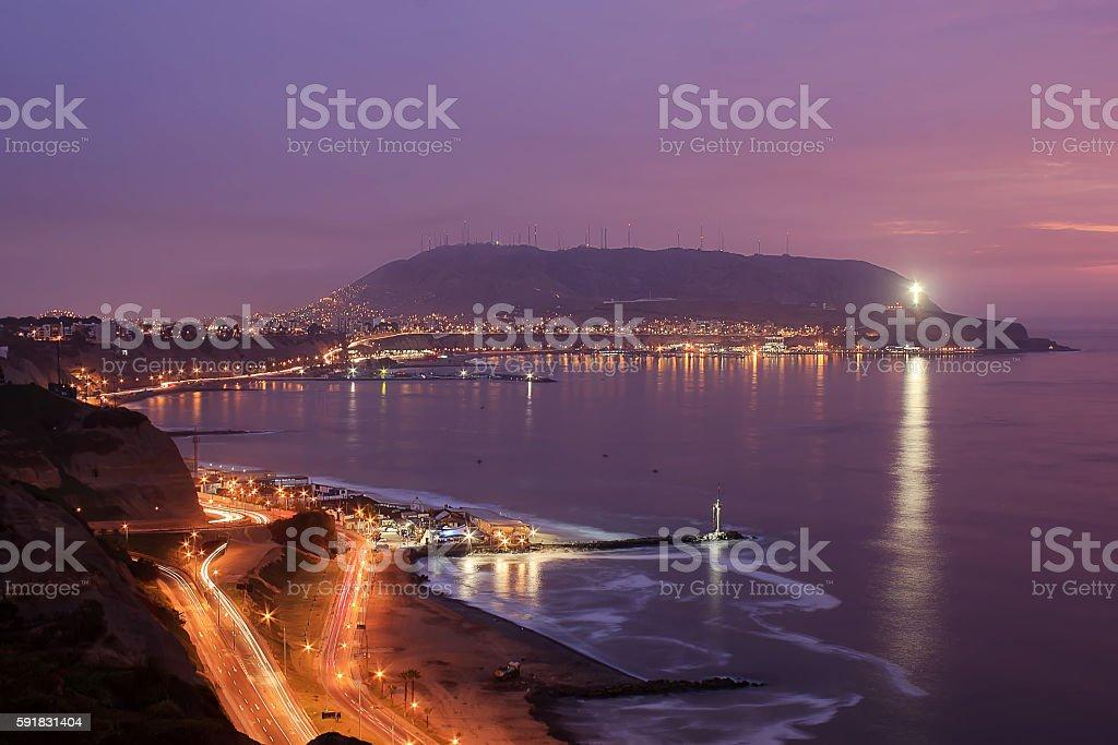 Lima at night stock photo