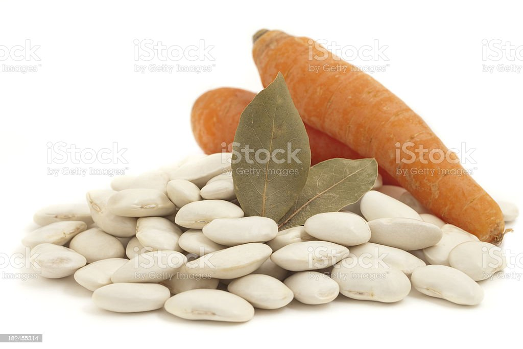 Lima Beans with Bay Leaves and Carrot Close Up royalty-free stock photo