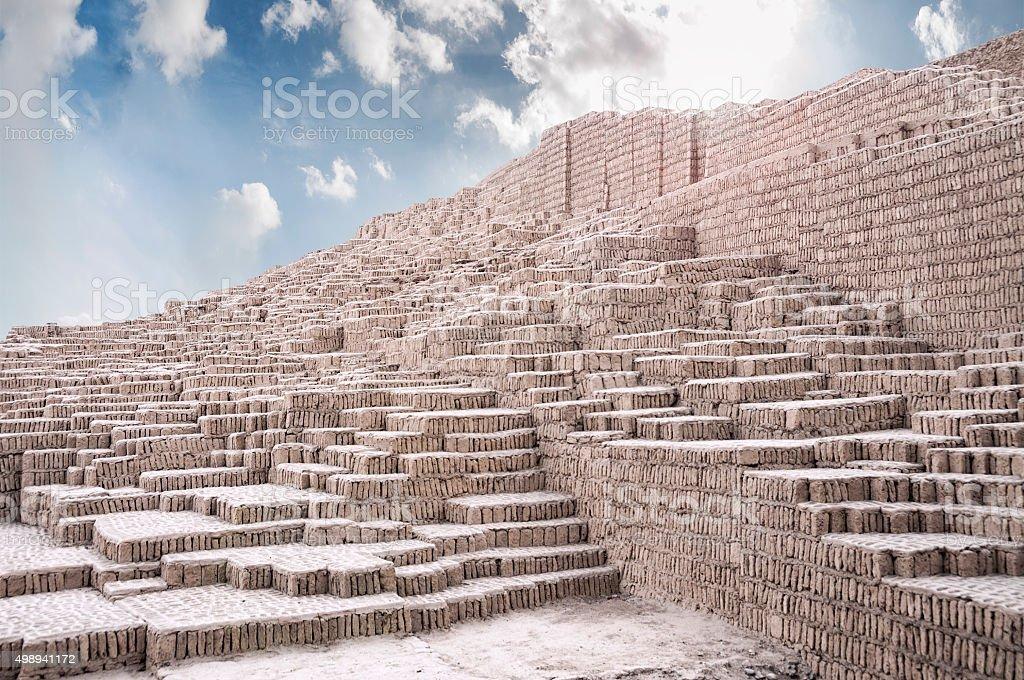 Lima Culture Ruins At Huaca Pucllana In Peru stock photo