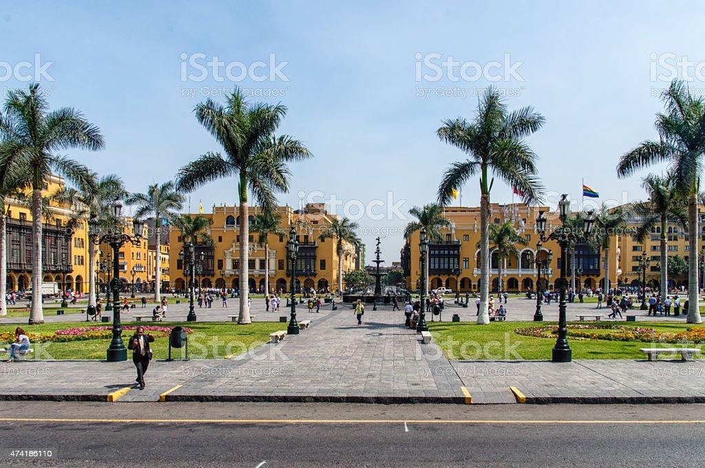 Lima main square stock photo