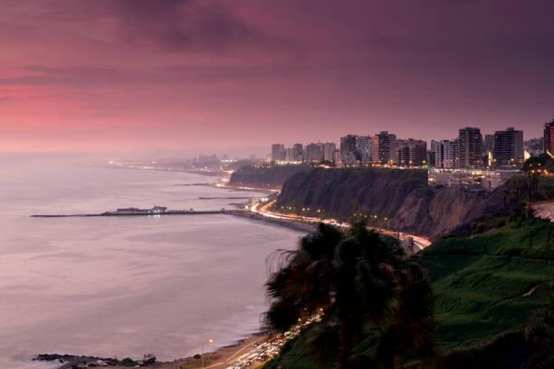 Lima Peru at Dusk stock photo