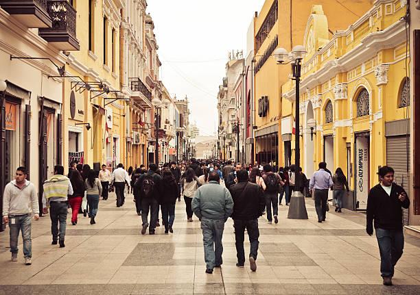lima, peru - jiron de la union shopping street - peruvian ethnicity stock pictures, royalty-free photos & images
