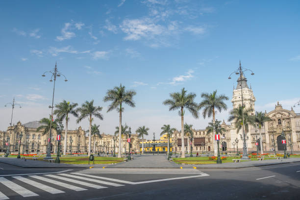 Lima Plaza de Armas with the cathedral and The Government Palace of Peru. stock photo