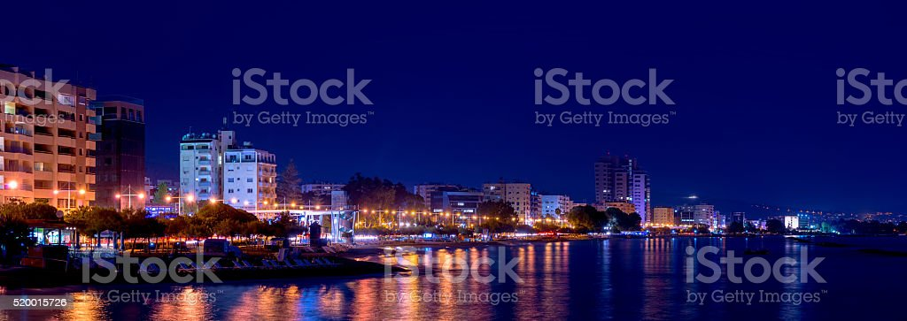 Limassol coastline at night. stock photo