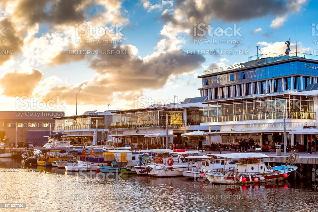 Limassol Old Port at sunset stock photo