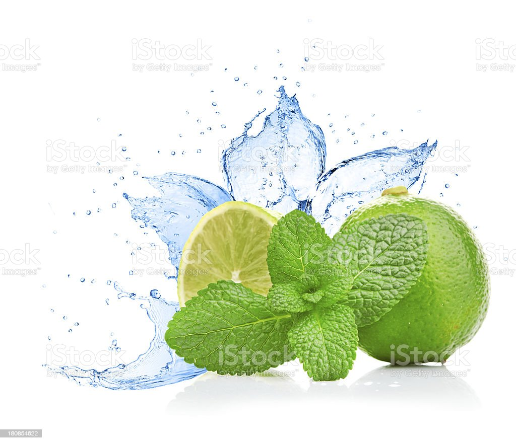 lime and mint on water splash royalty-free stock photo
