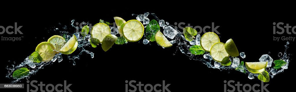Lime and mint with water splash stock photo