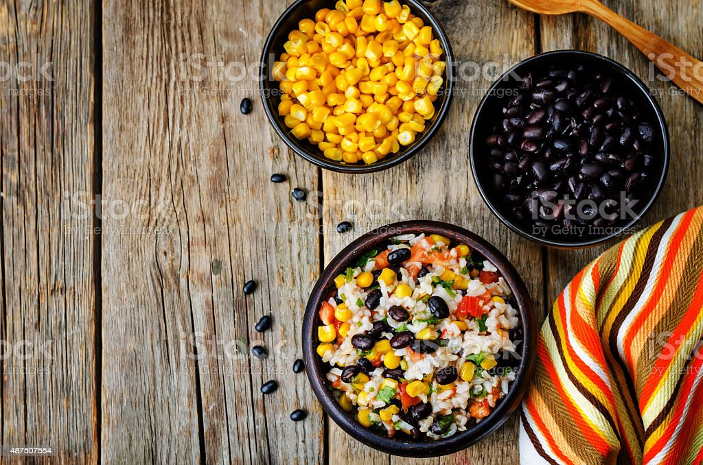 Lime black beans corn rice stock photo