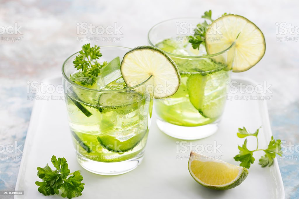 Lime, cucumber, parsley cocktail, detox water stock photo