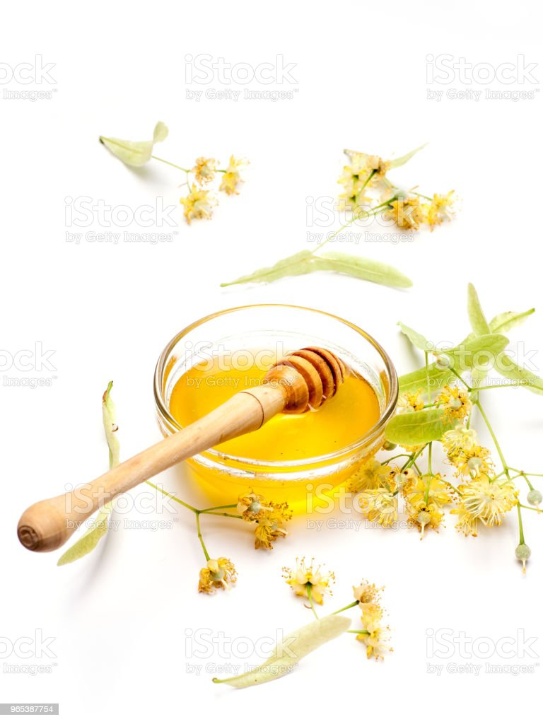 Lime flowers with honey royalty-free stock photo