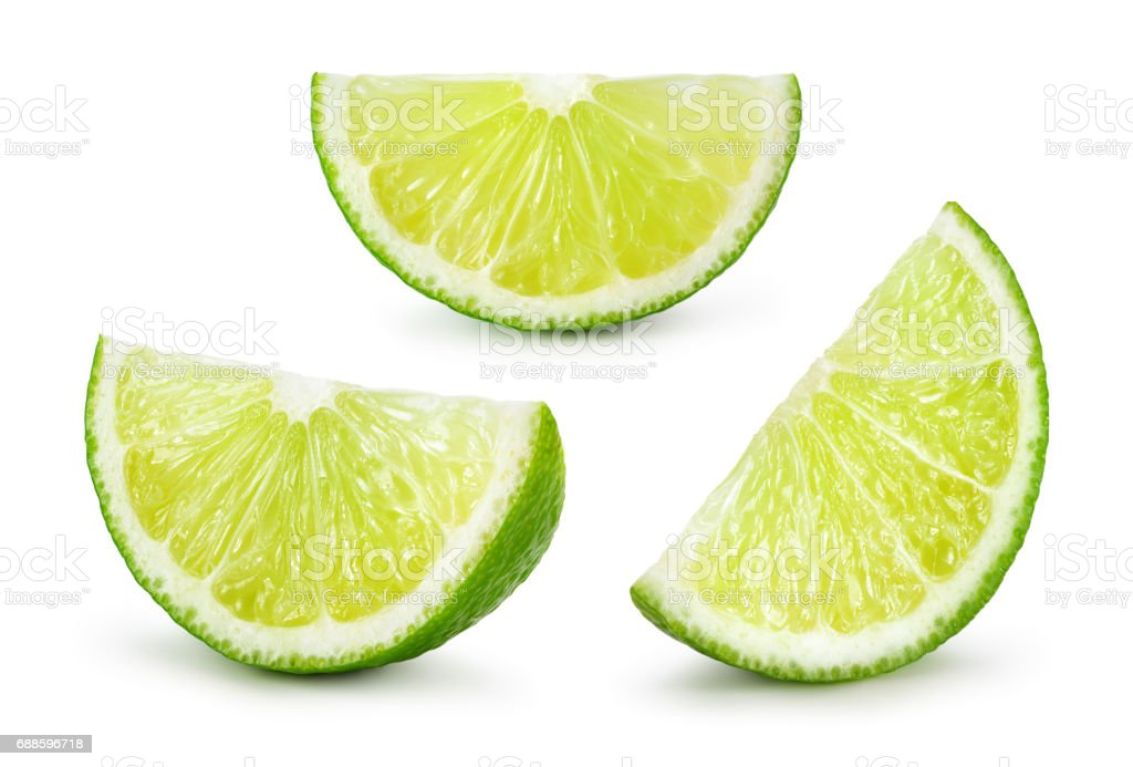Lime. Fresh fruit isolated on white background. Slice, piece, quarter; part, segment, section. Collection. stock photo