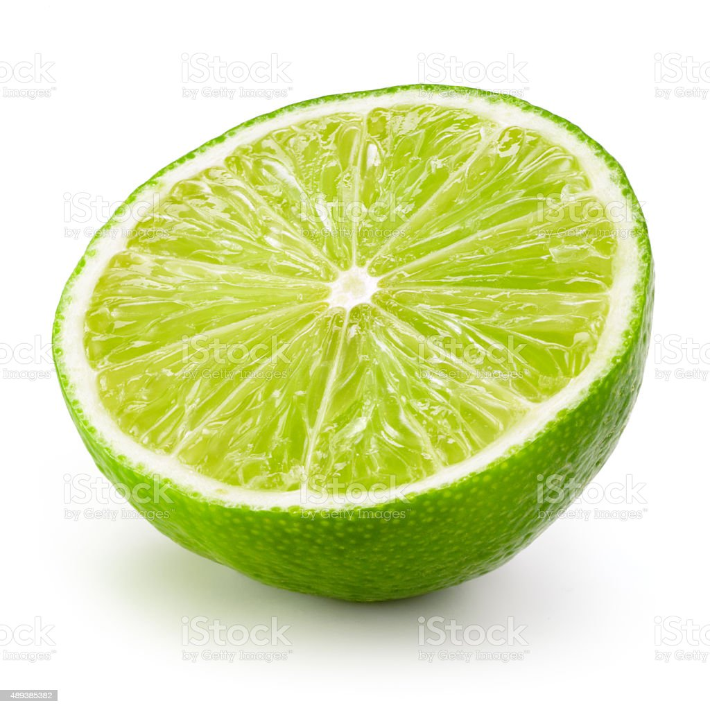 Lime fruit. Half isolated on white background stock photo