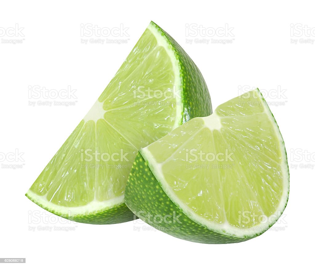 lime fruit slices isolated on white background with clipping path stock photo