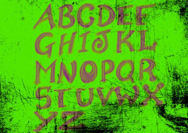 lime gree grunge handgezeichnetalphabet grafik - handschriftliche typografie stock-fotos und bilder