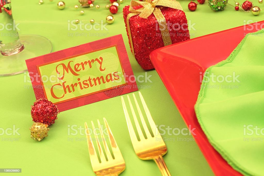 Lime Green and Red Christmas Table royalty-free stock photo