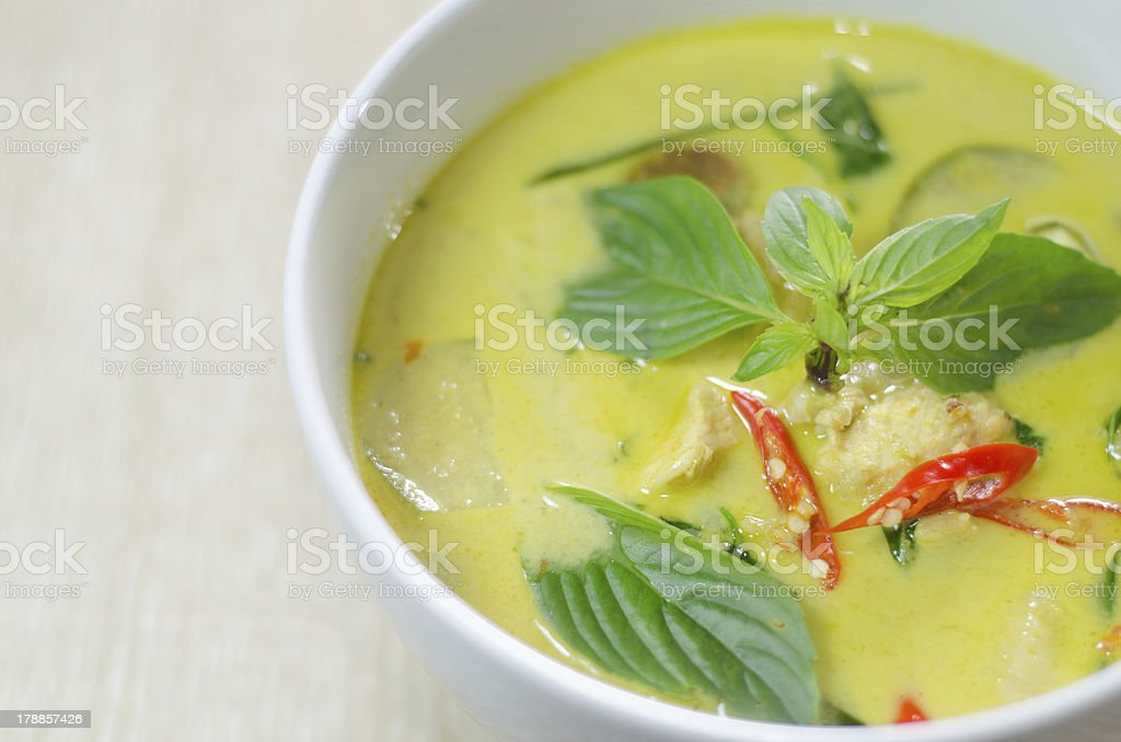 Lime green chicken and pepper curry stock photo