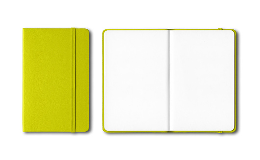 Lime green closed and open notebooks isolated on white