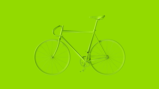 Lime Green Fixed Gear Racing Bike Side View