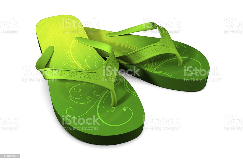 Lime Green Flip-flops with Swirls stock photo
