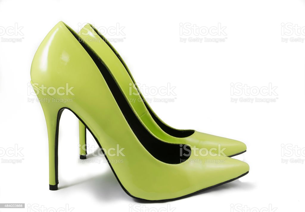 Lime Green High Heel Shoes stock photo