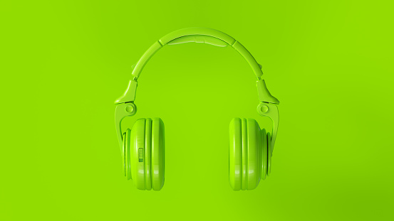 Lime Green Modern Headphones 3D illustration 3d render