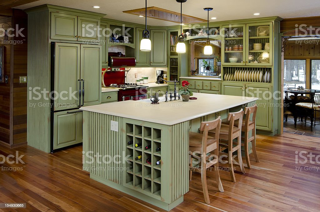 Lime green modern kitchen. stock photo