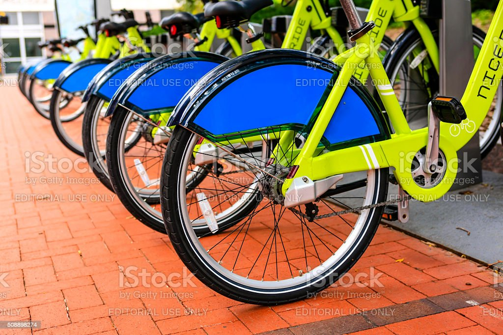 Lime green Nice Ride rental cycles in downtown Minneapolis MN stock photo