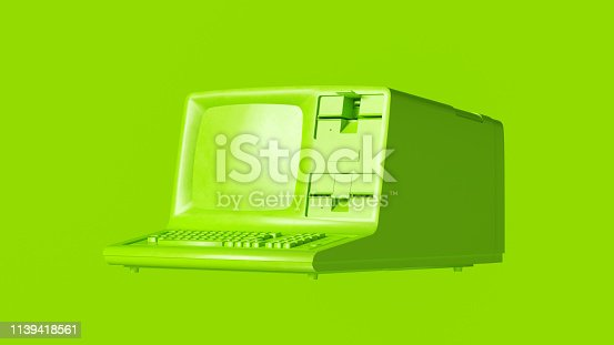 Lime Green Vintage Computer 3d illustration
