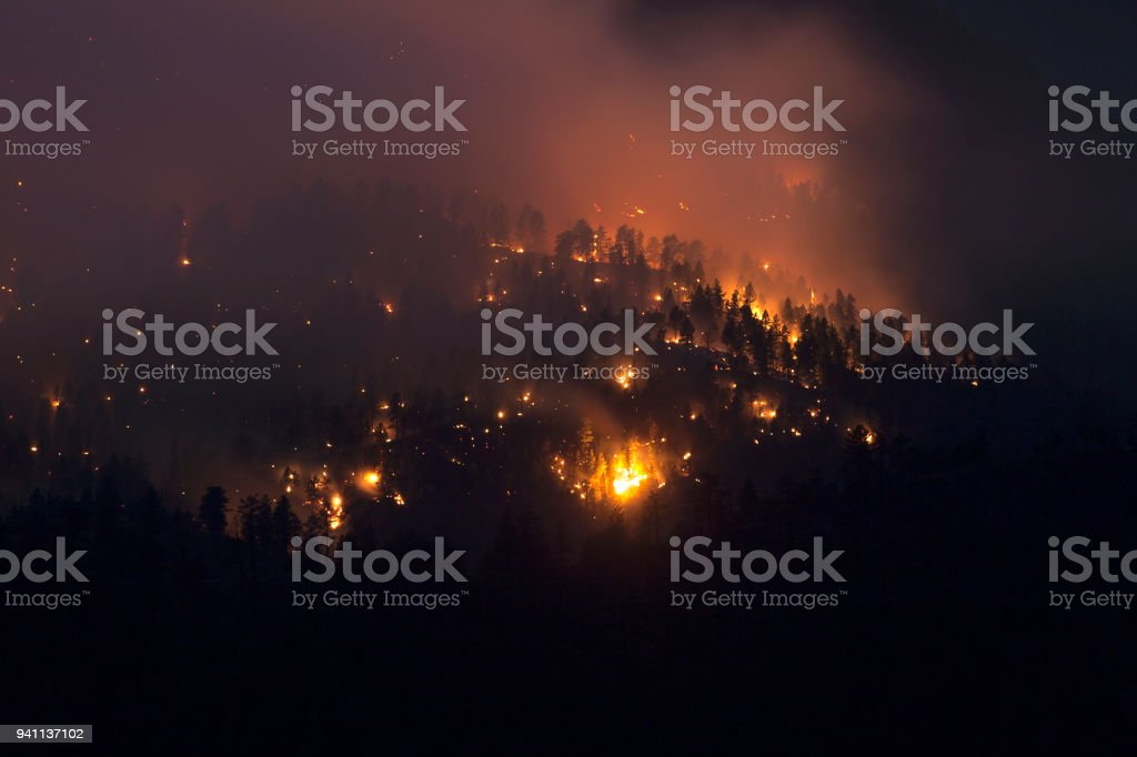 Lime Gulch Forest Fire night time mountain glowing Foxton Colorado stock photo