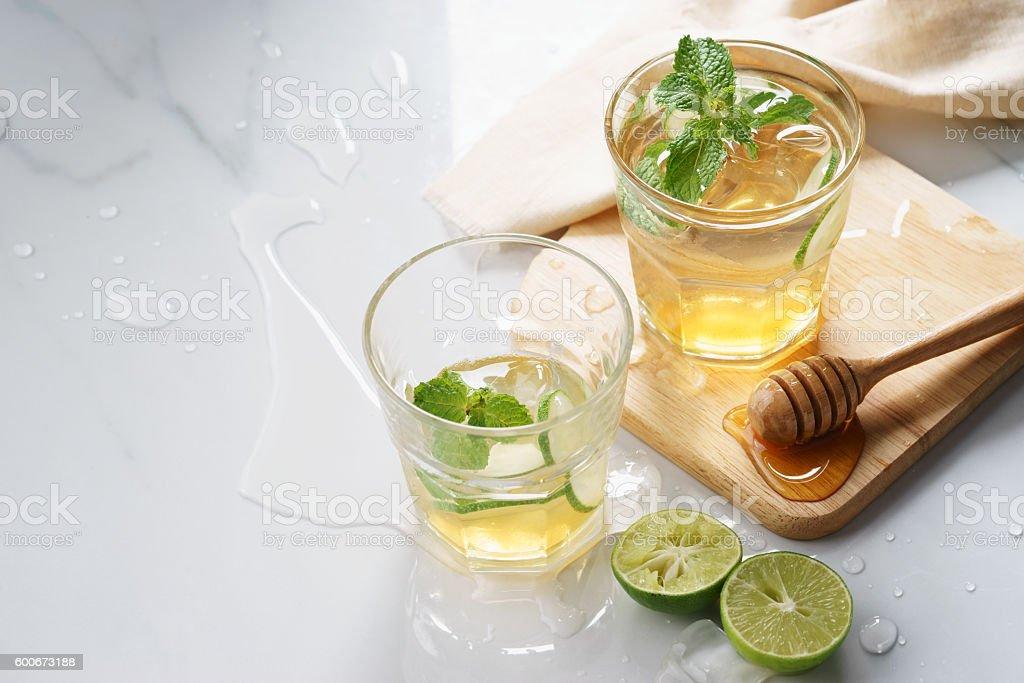 lime honey iced drinks stock photo