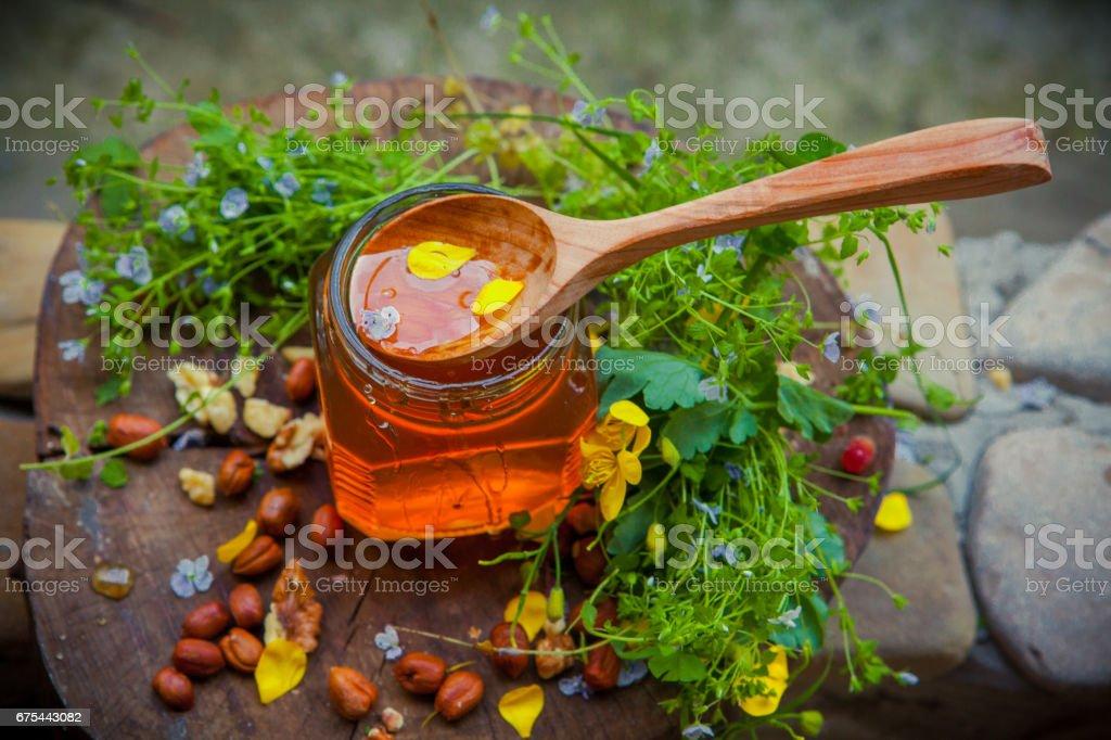 Lime honey with a wooden spoon photo libre de droits